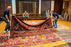 Carpet sellers put on a show Stock Photos