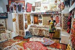 Carpet shop in Bukhara in Uzbekistan Royalty Free Stock Photography