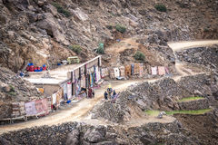 Carpet shop in High Atlas Mountains Stock Images
