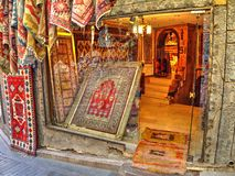 Carpet shop in historical centre of Antalya, Turkey Royalty Free Stock Images