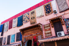 Carpet store in Marrakesh Royalty Free Stock Images