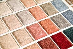 Carpet swatch. Display of a colorful array of carpet samples Royalty Free Stock Photo