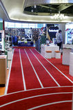 Carpet of taipei sport clothing shop. Sports clothing and footwear store in 101 business district, taipei city, taiwan. the carpet looks like runway royalty free stock image
