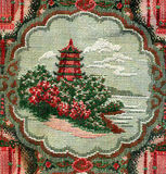Carpet texture with Chinese temple. Carpet texture with embroidery of Chinese temple and garden on a little island Stock Photography