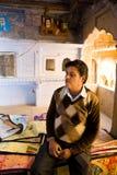 Carpet vendor, Rajasthan, India Stock Photos