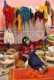 Carpet Weaver, Traditional Vintage Craftsmanship, Moroccan Home Business Stock Image
