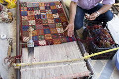 Carpet. Weaving loom in iran shiraz Royalty Free Stock Images
