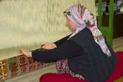 Carpet weaving in Turkey Royalty Free Stock Images
