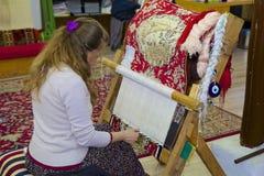 Carpet weaving in Turkey Stock Photos