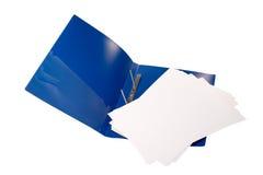 Carpeta abierta del azul Foto de archivo