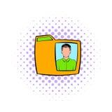 Carpeta amarilla con el icono masculino de la foto, estilo de los tebeos Fotografía de archivo libre de regalías