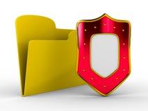 Carpeta amarilla del ordenador con el blindaje libre illustration