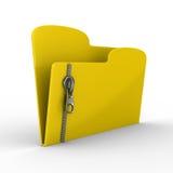 Carpeta amarilla del ordenador con la cremallera stock de ilustración