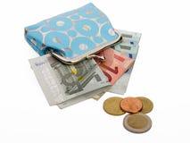 Carpeta azul con el dinero euro Imágenes de archivo libres de regalías