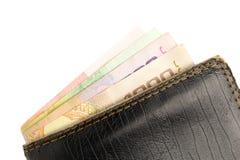 Carpeta con el dinero aislado en el fondo blanco fotos de archivo