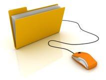 Carpeta con el ratón del ordenador Fotos de archivo libres de regalías