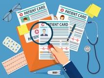 Carpeta con la tarjeta paciente stock de ilustración
