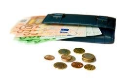 Carpeta con los billetes de banco y las monedas euro Foto de archivo libre de regalías