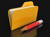 Carpeta con los ficheros y el lápiz (trayectoria de recortes incluida) Imágenes de archivo libres de regalías