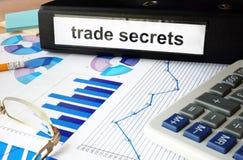 Carpeta con los secretos comerciales de la etiqueta foto de archivo libre de regalías