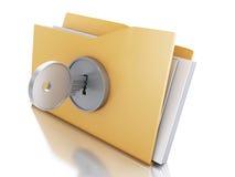 carpeta 3d cerrada con llave Concepto de la seguridad Imagen de archivo libre de regalías