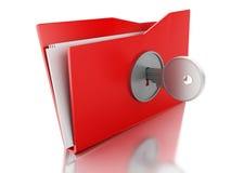 carpeta 3d cerrada con llave Concepto de la seguridad Fotografía de archivo libre de regalías