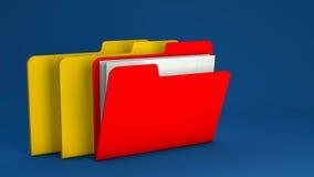 Carpeta de archivos amarilla y roja Fotos de archivo libres de regalías