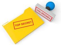 carpeta de archivos de alto secreto 3d y sello Imagenes de archivo