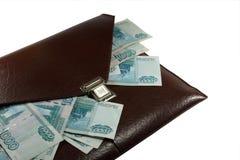 Carpeta de Brown con el dinero Foto de archivo
