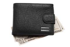 Carpeta de cuero negra con el dinero Foto de archivo