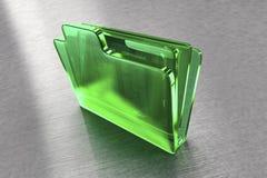 Carpeta de fichero del vidrio verde Foto de archivo