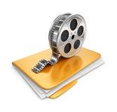 Carpeta de la película con un carrete de películas. icono 3D  Fotografía de archivo