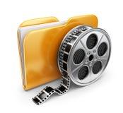 Carpeta de la película con un carrete de películas. icono 3D aislado Fotos de archivo libres de regalías