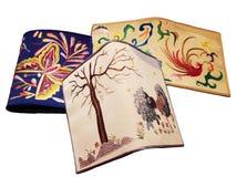 Carpeta del bordado tres con las ovejas, mariposa foto de archivo libre de regalías