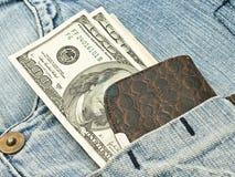 Carpeta, dólar americano en el bolsillo Foto de archivo libre de regalías