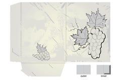 Carpeta estilizada retra del regalo con las uvas Imagenes de archivo