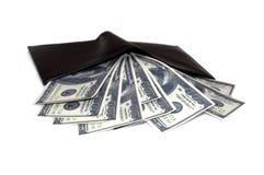 Carpeta negra con el dinero Foto de archivo libre de regalías