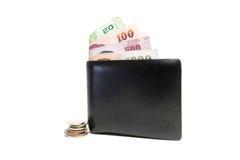 Carpeta negra con el dinero Foto de archivo
