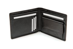 Carpeta negra con las tarjetas de visita Imagenes de archivo