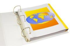 Carpeta para el asunto y estudio con el illustrat de la tierra Fotografía de archivo