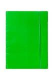 Carpeta verde con la goma Fotos de archivo