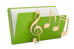 Carpeta verde con símbolos de la nota, del ordenador de la música representación 3D Imagen de archivo libre de regalías