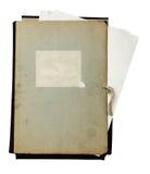 Carpeta vieja con la pila de papeles Imagen de archivo