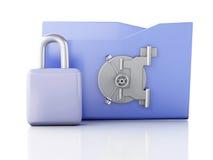 Carpeta y cerradura Concepto de la seguridad de datos ilustración 3D Fotografía de archivo