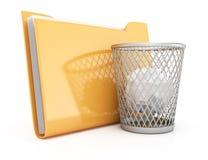 Carpeta y cesto de los papeles Imagen de archivo libre de regalías