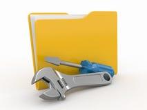 Carpeta y herramientas. 3d Imagenes de archivo