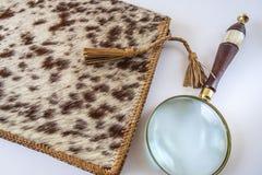 Carpeta y lupa de cuero en el fondo blanco Foto de archivo libre de regalías