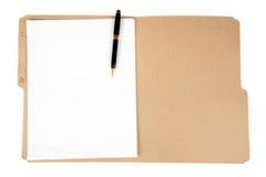 Carpeta y pluma de fichero Foto de archivo libre de regalías