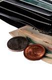 Carpeta y un poco de dinero imágenes de archivo libres de regalías