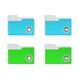 Carpetas azules y verdes Foto de archivo